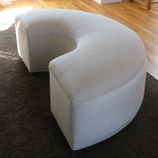 White Chenille 'Half Circle' Bench
