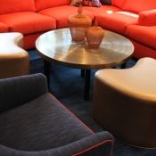 Copper Faux Leather ottomans in Rydal, PA.